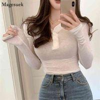 Korean Casual V-neck Long Sleeve Women T Shirt Spring Button Solid Slim Woman T-Shirts High Quality Cotton Tee Shirts 14404 210430