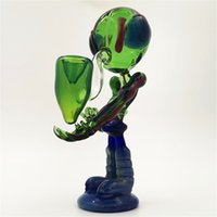 Glass Alien Pipe Water Bong Hookah Dab Rig Green Color Ashcatcher