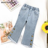 Jeans Mudkingdom Girls Denim Pants Solid Boot Cut Button Casual Slim For Toddler Slant Pocket Fashion Trousers Spring Autumn