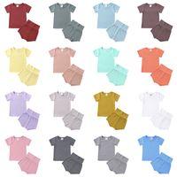 Baby Boy Girl Vêtements Costume Porter Clothe Ensemble T-shirt Short 2 PCS Summer Solid Color Outfit Tenue Pajamas Boutique