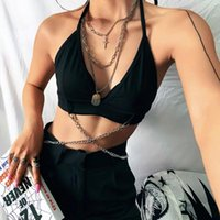 Women's Tanks & Camis SXGOTH T-shirt Rave Goth Accessories Women Halloween Cyber Tank Chain Bustiers Top Fairy Grunge Sexy Backless Harajuku