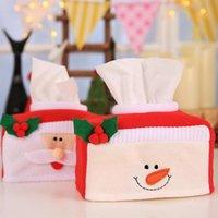 Motif joyeux boîte de papier de tissu de Noël couverture décoration de la maison Porte-serviette créative 2 styles pour les boîtes de choix Les serviettes