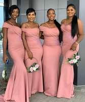 Sexy Dusty Pink Aso Ebi Mermaid Bridesmaid Dresses Special Wedding Party Dress One Shoulder Lace Appliques Sweep Train Maid of Honor Gowns Custom Made