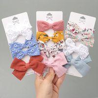Hair Accessories 4 Pcs Set Lace Flower Baby Girl Clips Floral Print Princess Bows Kids Children Hairpin Girls Headwear