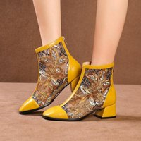 Boots Summer Shoes Woman Floral Womens Embroidery Mesh Genuine Leather Black Yellow Laies With Zip 2021
