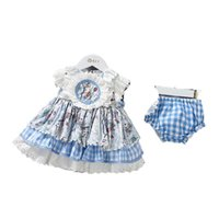 2021 New Summer Kids Girls Dress Blue Plaid Bow Princess Dresses Lolita Style Birthday Dress Vestiti per bambini E1207