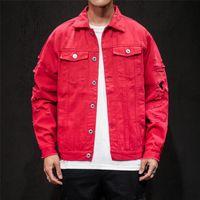 4 색 망 데님 재킷 패션 스트리트 스타일 재킷 단일 버튼 진 자켓 플러스 사이즈 망 의류 streetwear