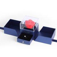 Jewelora criativo rosa flor azul caixa para jóias embalagens aniversário mães dia dos namorados dia romântico surpresa presente