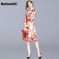 Borisovich Women Summer Casual Dress Brand 2021 Fashion Lolita Style Floral Embroidery Ladies Elegant Party Dresses N1181