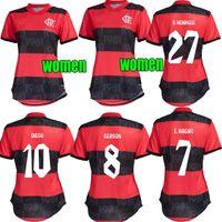 21 22 Kadın Flamengo Futbol Forması 2021 Ev Diego E. Ribeiro Pedro Lady Gömlek Gerson Gabi Uzakta De Arrascaeta Kız Futbol Üniforması