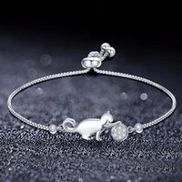 Trendy Cubic Zirconia Crystal Cat And Ball Charm Bracelets For Women Fashion Korean Jewelry Gift Pulseras Mujer Moda 2021