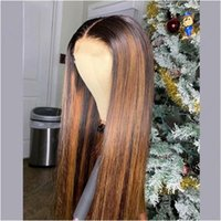 Lace Wigs 1B 30 Ombre Color HD Transparent Straight 13x6 Front Human Hair With Highlights 150 Density