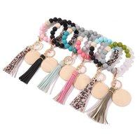2021 new Designer silicone bead bracelet Cross-border new silica gel bead primary color wood chip wrist alloy bracelet key