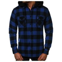 Men's Casual Shirts Plaid Print Shirt Long Sleeve Single Breasted Double Pocket Fashion Removable Hooded Blouse Male Tops Outwear