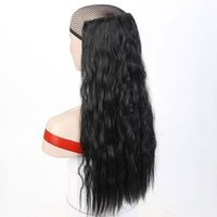 Synthetic Wigs Long Curly Clip In Hair Fake Pieces Ombre Golden Black Heat Resistant For Women Daily