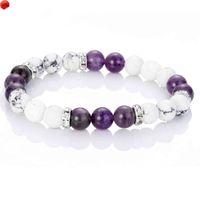 Natural Ametista Bead Bracelete Lava Stone Distância para Amigos Healing Balance Homens Mulheres