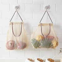 Bolso de malla de almacenamiento para colgar reutilizable para frutas de vegetales Potatoes de ajo cebollas ajo organizador de la cocina Organizador de baño DWE9316