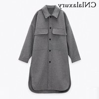 Women's Wool & Blends Women Woolen Winter Long Coat Casual Turn Down Collar Thick Oversize Jacket Fashion Single-Breasted Warm Female Shirt
