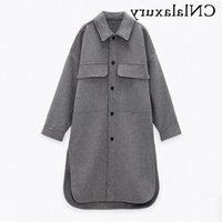 Women's Wool & Blends Women Woolen Winter Long Coat Casual Turn Down Collar Thick Oversize Jacket Fashion Single-Breasted Warm Female Shirt