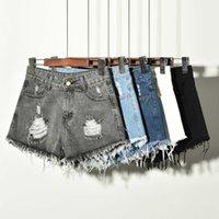 MIIKLN Mujeres Pantalones vaqueros cortos para pantalones de verano Negro Blanco Azul S a 6XL Tamaño grande de tamaño grande Ladies Agujero corto Romificado Moda 5 colores Y0602