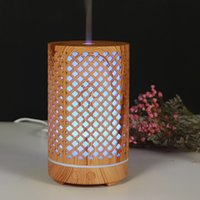 200ml Aroma Essential Oil Diffuser Ultrasonic Air Humidifier Purifier with Wood Grain shape 7colors Changing LED Lights for Office Home