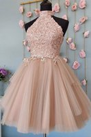 2022 Champagne High Neck Vintage Short Homecoming Graduation Dresses A line Tulle Pleated Applique Bridesmaid Party Mini Cocktail Prom Dress New Open Back