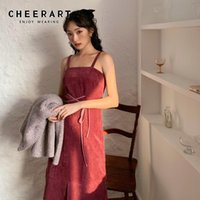 Red Corduroy Slip Dress Autumn 2021 Bandage Knee Length Spaghetti Strap Korean Fashion Clothing For Womens Casual Dresses