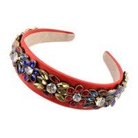 Colorido de vidro de cristal de cristal headbands de flor para mulheres moda Barroco Court Palace Bandas de cabelo largas senhoras jóias jóias