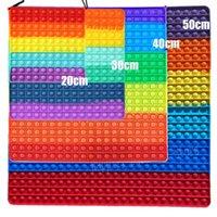 Big taille 40cm 50cm Rainbow Square Poussoir Bubble Fidget Toys Glow dans Dark Adulte Stress Soulagement Jouet Toy Antistress Squeeze Cadeau 20cm 30cm