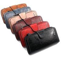 Balmumu Yağ Cilt Cüzdan Bayan Cüzdanı Üç Kat Vintage Deri Çantalar Cep Telefonu Kadın Sikke Çanta Carteira Feminina