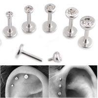 GEM Lip Stud Cartilage Helix Tragus Clear Crystal Ear Piercing Bar de boucle d'oreille Perçage Entièrement fileté 16g Bague à lèvres de diamant lot en acier chirurgical