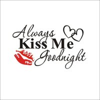 Wall Stickers Always Kiss Me Goodnight Decals Quotes Sayings Words Decor Lettering Art Inspirational Decal Removable DIY