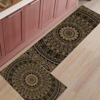 Cojín / almohada decorativa alfombrilla de cocina antideslizante bohemio bohemio marrón Mandala patrón impreso alfombra de felpudo pasillo baño baño