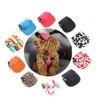 Ropa de perro Sombrero PET béisbol gorra deportivo visera orejas y barbilla correa gatos mascotas perros sombreros 11 colores wy1517