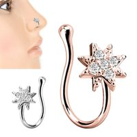 Fake Nose Rings for Women Men Surgical Stainless Steel Rhinestone Non-pierced Septum Ring Hanger Clip Body Jewelry