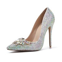 BrideMaid Shoes Blinging Crystal AB Rhinestone Свадебная бабочка Button Conteded Noy Bridal Банкетные насосы True Size 9 платье