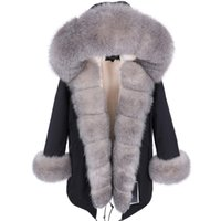 maomaokong natural real fur Collar coat Women's leather jacket winter clothe bomber jacket parkas padded coats Long 211013