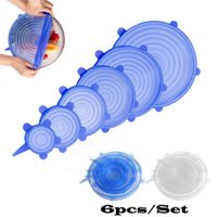 6PCS Set Universal Kitchen Tools Silicone Suction Lid-bowl Pan Cooking Pot Lid-silicon Stretch Lids Fruit Cover Pans Spill Lid