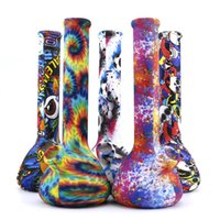 """Hookahs 8 """"Beaker de Silicone Bongo Portátil Transferência de Água Impressão de tubulações de petróleo de tubulações de óleo inquebrantáveis Tubulação de concentrado"""