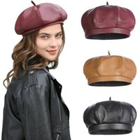 Beanies Vintage Beret Cap Fashion Women Casual PU Leather Hat For French Autumn Winter Octagonal Beanie Caps Solid Color