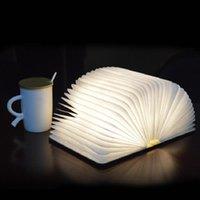 Dizeleri 3 Renk 3D Yaratıcı LED Taşınabilir Kitap Gece Işık Ahşap 5 V USB Şarj Edilebilir Katlanabilir Masa Lambası Ev Dekorasyon