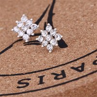 Creative Ear Studs Steps Snowflake Beer Crystal Cristal Strass Studs Neuf Perle Boucles d'oreilles Neuf Perle 587 T2
