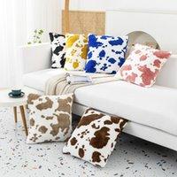 Cushion Decorative Pillow E Cow Pattern Plush Pillowcase Super Soft Velvet Cushion Cover For Sofa Waist Case Nordic Style Home Decor Modern