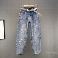 Nakış Sondaj Harem Kot Kadın 2021 Bahar Yüksek Bel Gevşek Mavi Denim Pantolon Giysileri Nancylim Kadınlar