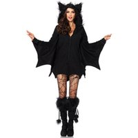 Halloween Female Cosplay Vampire Bat Costume Sexy Women Adult Cosplay Black Jumpsuit Connect Wings Batman Dress and Socks Toy