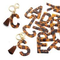 Leopard Imprimir Chaveiros A-z Acetato Inicial Pingente Chaveiro Chaveiro Chaveiro Carro Alfabeto Resina Keyring Holder Charm Saco Casal Presentes