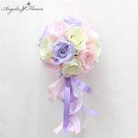Flores decorativas grinaldas pendurado bola de flor de flor artificial rosa com fita casamento fundo decoração festa loja de teto di