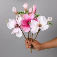 Декоративные цветы венки имитационные магнолии короткая ветвь небольшой пластиковый цветок искусственный ваза композиция