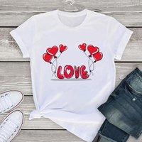 Love balloon print T Shirt Women Summer Casual Tshirts Harajuku Korean Style Graphic Tops New Kawaii Short Sleeve Female T-shirt