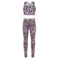 Sport Sets Tracksuits Yoga Gym Fitness Outfits Kids Girls Gymnastics Dancewear Sleeveless Leopard Print Crop Top Sports Leggings Clothing